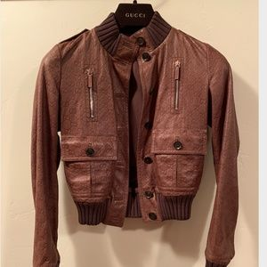 GUCCI GUCCISSIMA EMBOSSED LEATHER BOMBER JACKET